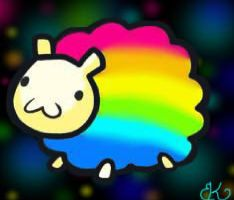 Rainbow Sheep! by xXpuddinpopXx