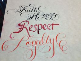Practicing my Calligraphy by dust4tears