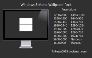 Windows 8 Mono Wallpaper Pack by Taiketsu0099 by Taiketsu0099