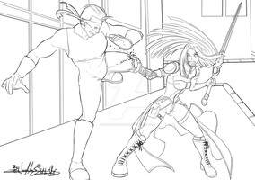 RANDOM FIGHT - Evans the Azure VS Rojo - Lineart by UkyoDragoon
