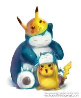 Pikachu and Snorlax by Halcyon-Enigma