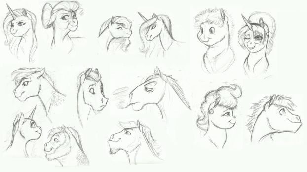 MLP- Pony faces practice by Earthsong9405