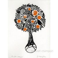 Fox Orange Tree Screenprint Art by DeborahChampion
