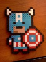 Perler Beads Captain America by bubdude