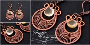Citrine and copper earrings by simple-elegance