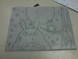 totoro print making- linoleum by ProNorst