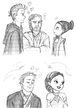 Cartoon Anakin and Padme - sketch by KatyTorres