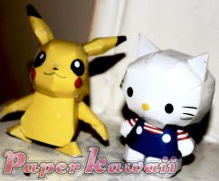 Hello Kitty and Pikachu by PaperKawaii
