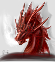 Red  eastern dragon by Lena-Lucia-dragon
