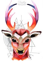 Geometric Watercolour Deer by dushky