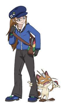 Trainer Moofin and MoofMeowth by Moofinseeker