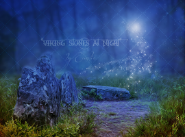 PREMIUM background - Viking Stones at Night by Euselia