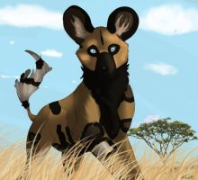 African Wild dog character by wolfgodess92
