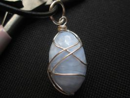 Blue lace agate gemstone pendant necklace by Cre8tivedesignz