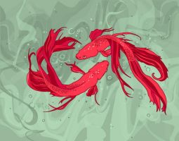 two red fish by Gwiwer