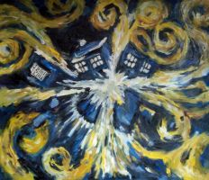 Doctor Who:Blue Box Exploding by arteclair