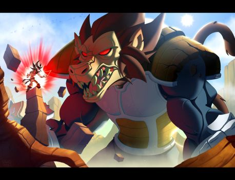 Goku Kaiohken VS Vegeta Ozharu by Javas