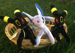 Umbreon and Espeon Plushies by racingwolf