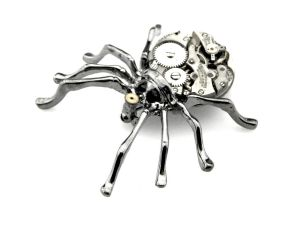 Tarantula Brooch - Black Widow Brooch by SteamSect