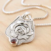 Rose Spoon Pendant with Garnet by metalsmitten