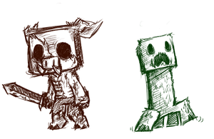Minecraft Mob Sketches 1 by theziminvader