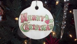 Painted Pyrography Christmas Ornament 2 by LexC7