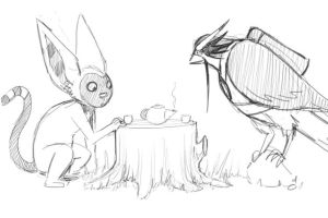 Teatime for Hawky and Momo by AliWildgoose