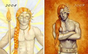 Sun Prince 2004 and 2009 by ElvenstarArt