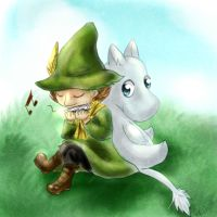 Snufkin and Moomin by GreyscaleRainbowXx