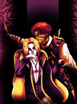 Halloween theme: vampire and Hunter by WinterGlace
