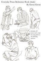 Everyday poses reference book (male) by kwun-kwun