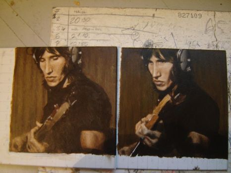 two miniature portraits of roger waters by falauke