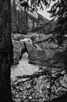 Natural Bridge 3 pic Pano BW by skip2000