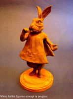 White Rabbit clay sketch by shaungent