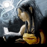 Speed Painting: Reading by Moonlight by impluvium