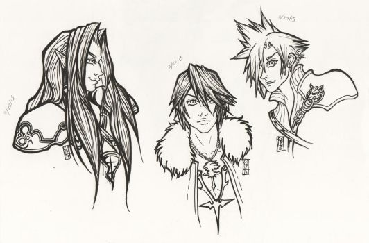 Sephiroth, Squall, and Cloud - inked busts by DarthSlatis
