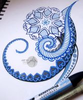 dotwork ornamental tattoo sketch by AsikaArt