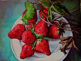 Strawberry study..oil on linen by xxaihxx