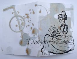Tea Stain Girl with Terrier on Lap by DumansArk