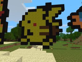 Minecraft Art: Pikachu Sprite by 04porteb