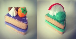 Melon and Taro felt cake by bibiluv