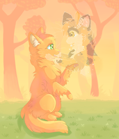 x Firestar and Spottedleaf x by Ambrity