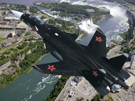 Su-47 over niagara falls by PAGANI-F1