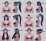 Night Elf new hairstyles projects: 3D this time by arcane-villain