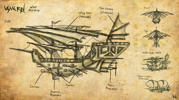 Airship Design: The Wyvern by Natal-ee-a