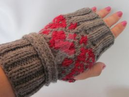 Hand-knitted Fingerless Gloves Mittens by MagicalString