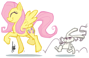 Trotting Fluttershy by TheArtrix