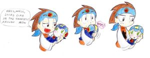 lan and baby megaman by ick25