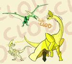 Yellow Diplodocus got torn down by the Peri-dactyl by iamtheNoNamer