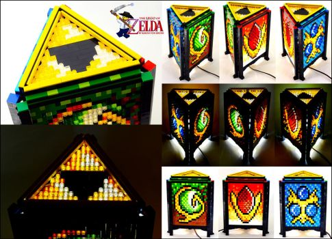 Mosaic LEGO Legend of Zelda Spiritual Stone Lamp by VonBrunk